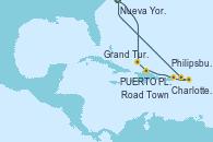 Visitando Nueva York (Estados Unidos), Grand Turks(Turks & Caicos), PUERTO PLATA, REPUBLICA DOMINICANA, Charlotte Amalie (St. Thomas), Philipsburg (St. Maarten), Road Town (Isla Tórtola/Islas Vírgenes), Nueva York (Estados Unidos)
