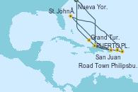 Visitando Nueva York (Estados Unidos), PUERTO PLATA, REPUBLICA DOMINICANA, San Juan (Puerto Rico), St. John´s (Antigua y Barbuda), Philipsburg (St. Maarten), Road Town (Isla Tórtola/Islas Vírgenes), Grand Turks(Turks & Caicos), Nueva York (Estados Unidos)