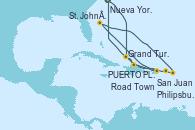 Visitando Nueva York (Estados Unidos), Grand Turks(Turks & Caicos), San Juan (Puerto Rico), St. John´s (Antigua y Barbuda), Philipsburg (St. Maarten), Road Town (Isla Tórtola/Islas Vírgenes), PUERTO PLATA, REPUBLICA DOMINICANA, Nueva York (Estados Unidos)