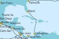 Visitando Seattle (Washington/EEUU), San Francisco (California/EEUU), Los Ángeles (California), San Diego (California/EEUU), Cabo San Lucas (México), Puerto Vallarta (México), Acapulco (México), Puerto Quetzal (Guatemala), San Juan del Sur (Nicaragua), Puerto Caldera (Costa Rica), Falmouth (Gran Bretaña), Canal Panamá, Cartagena de Indias (Colombia), Miami (Florida/EEUU)