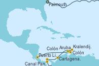 Visitando Falmouth (Gran Bretaña), Canal Panamá, Puerto Limón (Costa Rica), Colón, Aruba (Antillas), Kralendijk (Antillas), Cartagena de Indias (Colombia), Colón (Panamá)