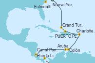 Visitando Nueva York (Estados Unidos), Grand Turks(Turks & Caicos), PUERTO PLATA, REPUBLICA DOMINICANA, Charlotte Amalie (St. Thomas), Colón, Aruba (Antillas), Puerto Limón (Costa Rica), Canal Panamá, Falmouth (Gran Bretaña)
