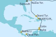Visitando Falmouth (Gran Bretaña), Canal Panamá, Puerto Limón (Costa Rica), Aruba (Antillas), Colón, PUERTO PLATA, REPUBLICA DOMINICANA, Grand Turks(Turks & Caicos), Nueva York (Estados Unidos)