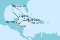 Visitando Nueva Orleans (Luisiana), Ocho Ríos (Jamaica), Gran Caimán (Islas Caimán), Roatán (Honduras), Harvest Caye (Belize), Cozumel (México), Nueva Orleans (Luisiana)