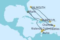 Visitando Miami (Florida/EEUU), Aruba (Antillas), Colón, Kralendijk (Antillas), Castries (Santa Lucía/Caribe), St. John´s (Antigua y Barbuda), Charlotte Amalie (St. Thomas), PUERTO PLATA, REPUBLICA DOMINICANA, Miami (Florida/EEUU)