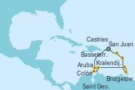 Visitando San Juan (Puerto Rico), Aruba (Antillas), Kralendijk (Antillas), Colón, Saint George (Grenada), Bridgetown (Barbados), Castries (Santa Lucía/Caribe), Basseterre (Antillas), San Juan (Puerto Rico)