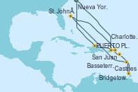 Visitando Nueva York (Estados Unidos), San Juan (Puerto Rico), Basseterre (Antillas), Castries (Santa Lucía/Caribe), Bridgetown (Barbados), St. John´s (Antigua y Barbuda), Charlotte Amalie (St. Thomas), PUERTO PLATA, REPUBLICA DOMINICANA, Nueva York (Estados Unidos)