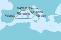 Visitando Barcelona, Marsella (Francia), Génova (Italia), La Spezia, Florencia y Pisa (Italia), Nápoles (Italia), Valencia, Barcelona