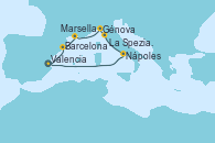 Visitando Valencia, Barcelona, Marsella (Francia), Génova (Italia), La Spezia, Florencia y Pisa (Italia), Nápoles (Italia), Valencia