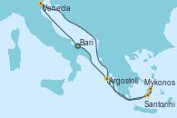 Visitando Bari (Italia), Venecia (Italia), Mykonos (Grecia), Mykonos (Grecia), Santorini (Grecia), Argostoli (Grecia), Bari (Italia)
