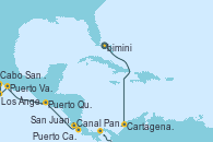 Visitando Puerto Cañaveral (Florida), Cartagena de Indias (Colombia), Canal Panamá, Puerto Caldera (Costa Rica), San Juan del Sur (Nicaragua), Puerto Quetzal (Guatemala), Puerto Vallarta (México), Cabo San Lucas (México), Los Ángeles (California)