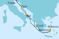 Visitando Trieste (Italia), Bari (Italia), Corfú (Grecia), Santorini (Grecia), Mykonos (Grecia), Split (Croacia), Trieste (Italia)