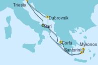 Visitando Bari (Italia), Corfú (Grecia), Santorini (Grecia), Mykonos (Grecia), Dubrovnik (Croacia), Trieste (Italia), Bari (Italia)