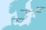 Visitando Copenhague (Dinamarca), Estocolmo (Suecia), Tallin (Estonia), San Petersburgo (Rusia), Copenhague (Dinamarca)
