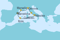 Visitando Barcelona, Marsella (Francia), Génova (Italia), Civitavecchia (Roma), Nápoles (Italia), Ibiza (España), Barcelona