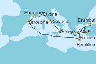 Visitando Savona (Italia), Civitavecchia (Roma), Palermo (Italia), Atenas (Grecia), Esmirna (Turquía), Estambul (Turquía), Estambul (Turquía), Heraklion (Creta), Barcelona, Marsella (Francia), Savona (Italia)