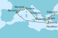 Visitando Barcelona, Marsella (Francia), Savona (Italia), Civitavecchia (Roma), Palermo (Italia), Atenas (Grecia), Esmirna (Turquía), Estambul (Turquía), Estambul (Turquía), Heraklion (Creta), Barcelona