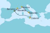 Visitando Barcelona, Marsella (Francia), Savona (Italia), Nápoles (Italia), Catania (Sicilia), Barcelona, Barcelona