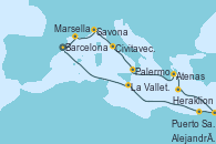 Visitando Barcelona, Marsella (Francia), Savona (Italia), Civitavecchia (Roma), Palermo (Italia), Atenas (Grecia), Heraklion (Creta), Puerto Said (Egipto), Alejandría (Egipto), La Valletta (Malta), Barcelona