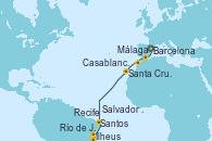 Visitando Barcelona, Málaga, Casablanca (Marruecos), Santa Cruz de Tenerife (España), Recife (Brasil), Salvador de Bahía (Brasil), Ilheus (Brasil), Río de Janeiro (Brasil), Santos (Brasil)