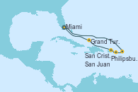 Visitando Miami (Florida/EEUU), Philipsburg (St. Maarten), San Cristóbal y Nieves, San Juan (Puerto Rico), Grand Turks(Turks & Caicos), Miami (Florida/EEUU)