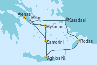 Visitando Kusadasi (Efeso/Turquía), Rodas (Grecia), Aghios Nikolaos (Grecia), Santorini (Grecia), Santorini (Grecia), Milos (Grecia), Mykonos (Grecia), Mykonos (Grecia), Atenas (Grecia), Kusadasi (Efeso/Turquía)