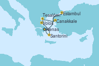 Visitando Atenas (Grecia), Estambul (Turquía), Estambul (Turquía), Canakkale (Turquía), Tesalónica (Grecia), Volos (Grecia), Santorini (Grecia), Atenas (Grecia)