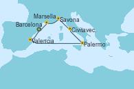 Visitando Barcelona, Valencia, Palermo (Italia), Civitavecchia (Roma), Savona (Italia), Marsella (Francia), Barcelona