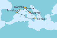 Visitando Barcelona, Palermo (Italia), Civitavecchia (Roma), Savona (Italia), Marsella (Francia), Barcelona