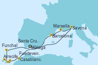 Visitando Málaga, Savona (Italia), Marsella (Francia), Barcelona, Casablanca (Marruecos), Casablanca (Marruecos), Arrecife (Lanzarote/España), Fuerteventura (Canarias/España), Santa Cruz de Tenerife (España), Funchal (Madeira), Málaga