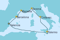 Visitando Valencia, Palermo (Italia), Civitavecchia (Roma), Savona (Italia), Marsella (Francia), Barcelona, Valencia
