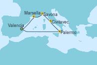 Visitando Valencia, Palermo (Italia), Civitavecchia (Roma), Savona (Italia), Marsella (Francia), Valencia