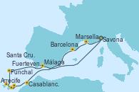 Visitando Savona (Italia), Marsella (Francia), Barcelona, Casablanca (Marruecos), Casablanca (Marruecos), Arrecife (Lanzarote/España), Fuerteventura (Canarias/España), Santa Cruz de Tenerife (España), Funchal (Madeira), Málaga, Savona (Italia)