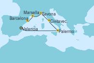 Visitando Valencia, Palermo (Italia), Civitavecchia (Roma), Savona (Italia), Marsella (Francia), Barcelona