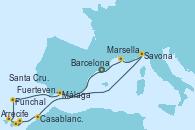 Visitando Barcelona, Casablanca (Marruecos), Casablanca (Marruecos), Arrecife (Lanzarote/España), Fuerteventura (Canarias/España), Santa Cruz de Tenerife (España), Funchal (Madeira), Málaga, Savona (Italia), Marsella (Francia), Barcelona