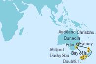 Visitando Sydney (Australia), Eden (Nueva Gales), Milfjord Sound (Nueva Zelanda), Doubtful Sound (Nueva Zelanda), Dusky Sound (Nueva Zelanda), Dunedin (Nueva Zelanda), Christchurch (Nueva Zelanda), Auckland (Nueva Zelanda), Bay of Islands (Nueva Zelanda), Sydney (Australia)