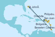 Visitando San Juan (Puerto Rico), Charlotte Amalie (St. Thomas), Basseterre (Antillas), St. John´s (Antigua y Barbuda), Castries (Santa Lucía/Caribe), Bridgetown (Barbados), Philipsburg (St. Maarten), San Juan (Puerto Rico)