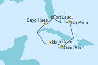 Visitando Fort Lauderdale (Florida/EEUU), Isla Pequeña (San Salvador/Bahamas), Ocho Ríos (Jamaica), Gran Caimán (Islas Caimán), Cayo Hueso (Key West/Florida), Fort Lauderdale (Florida/EEUU)