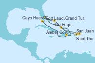 Visitando Fort Lauderdale (Florida/EEUU), Grand Turks(Turks & Caicos), San Juan (Puerto Rico), Saint Thomas (Islas Vírgenes), Isla Pequeña (San Salvador/Bahamas), Fort Lauderdale (Florida/EEUU), Isla Pequeña (San Salvador/Bahamas), Grand Turks(Turks & Caicos), Amber Cove (República Dominicana), Cayo Hueso (Key West/Florida), Fort Lauderdale (Florida/EEUU)