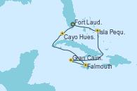 Visitando Fort Lauderdale (Florida/EEUU), Cayo Hueso (Key West/Florida), Falmouth (Jamaica), Gran Caimán (Islas Caimán), Isla Pequeña (San Salvador/Bahamas), Fort Lauderdale (Florida/EEUU)