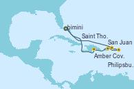 Visitando Puerto Cañaveral (Florida), Amber Cove (República Dominicana), San Juan (Puerto Rico), Philipsburg (St. Maarten), Saint Thomas (Islas Vírgenes), Puerto Cañaveral (Florida)