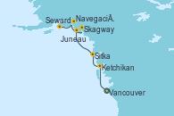 Visitando Vancouver (Canadá), Ketchikan (Alaska), Sitka (Alaska), Juneau (Alaska), Skagway (Alaska), Navegación por Glaciar Hubbard (Alaska), Seward (Alaska)