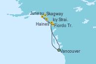 Visitando Vancouver (Canadá), Icy Strait Point (Alaska), Juneau (Alaska), Skagway (Alaska), Haines (Alaska), Fiordo Tracy Arm (Alaska), Vancouver (Canadá)