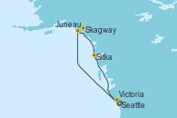 Visitando Seattle (Washington/EEUU), Juneau (Alaska), Skagway (Alaska), Sitka (Alaska), Victoria (Canadá), Seattle (Washington/EEUU)