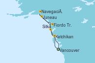 Visitando Vancouver (Canadá), Ketchikan (Alaska), Fiordo Tracy Arm (Alaska), Juneau (Alaska), Navegación por Glaciar Hubbard (Alaska), Sitka (Alaska), Vancouver (Canadá)