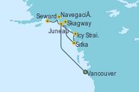 Visitando Vancouver (Canadá), Juneau (Alaska), Icy Strait Point (Alaska), Sitka (Alaska), Skagway (Alaska), Navegación por Glaciar Hubbard (Alaska), Seward (Alaska)