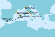 Visitando Málaga, Civitavecchia (Roma), Génova (Italia), Civitavecchia (Roma), Nápoles (Italia), Barcelona, Palma de Mallorca (España), Málaga