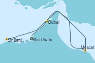 Visitando Abu Dhabi (Emiratos Árabes Unidos), Sir Bani Yas Is (Emiratos Árabes Unidos), Muscat (Omán), Dubai, Dubai, Dubai, Abu Dhabi (Emiratos Árabes Unidos)