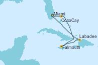 Visitando Miami (Florida/EEUU), CocoCay (Bahamas), Falmouth (Jamaica), Labadee (Haiti), Miami (Florida/EEUU)