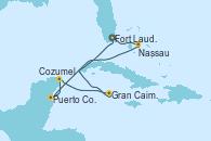 Visitando Fort Lauderdale (Florida/EEUU), Nassau (Bahamas), Puerto Costa Maya (México), Cozumel (México), Gran Caimán (Islas Caimán), Fort Lauderdale (Florida/EEUU)